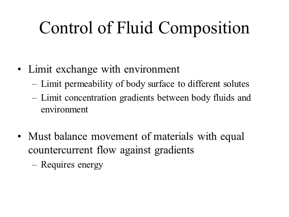 Control of Fluid Composition