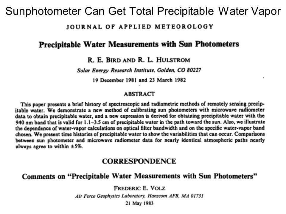 Sunphotometer Can Get Total Precipitable Water Vapor