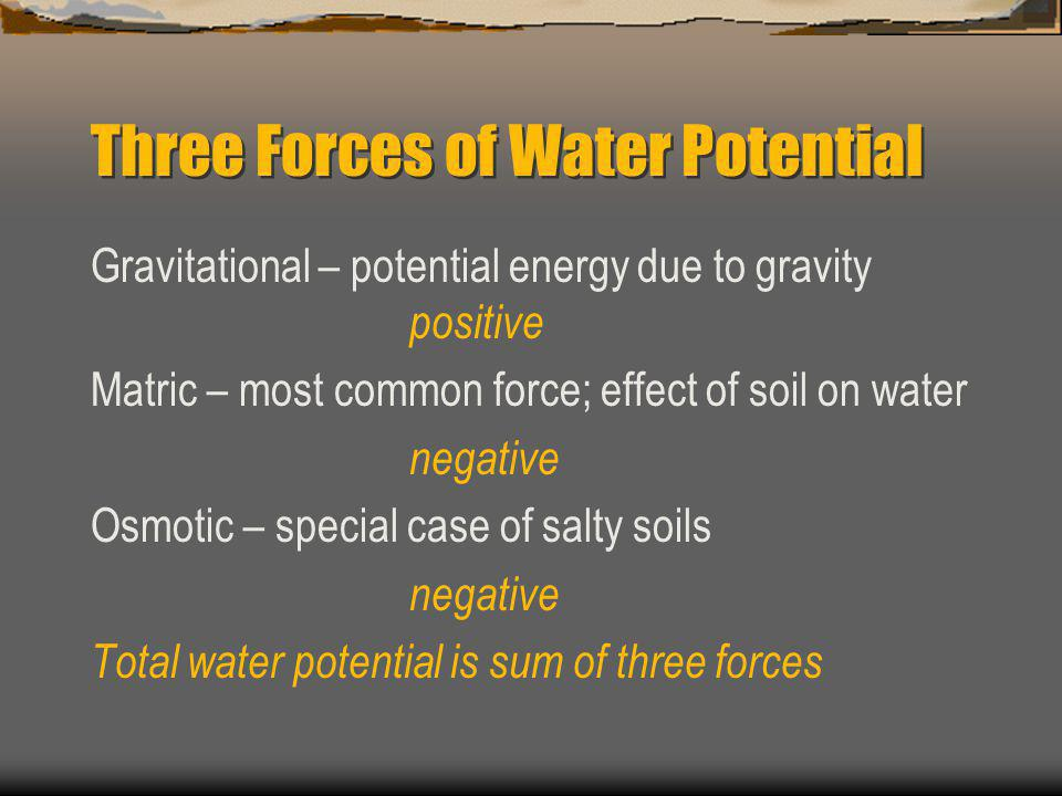 Three Forces of Water Potential