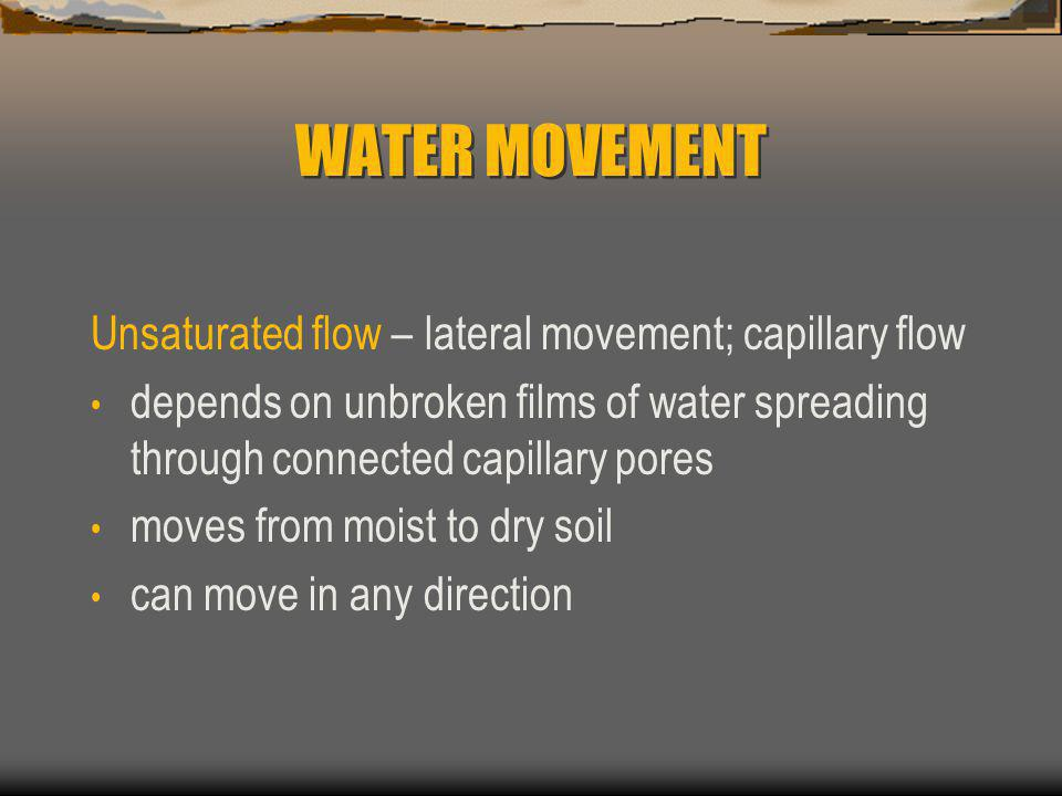 WATER MOVEMENT Unsaturated flow – lateral movement; capillary flow