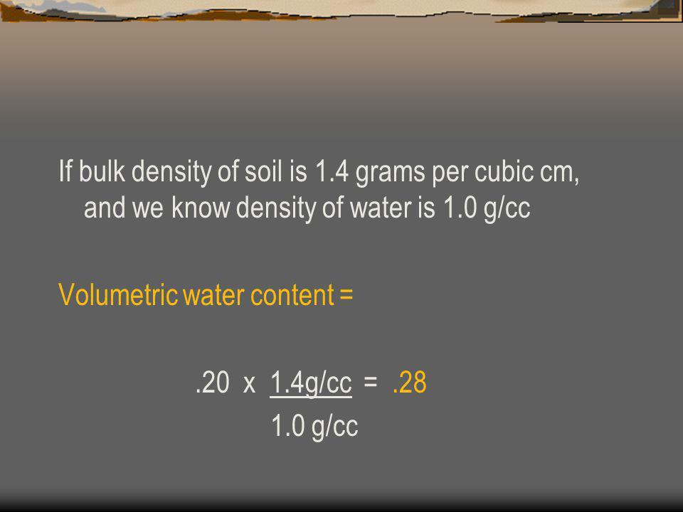 If bulk density of soil is 1