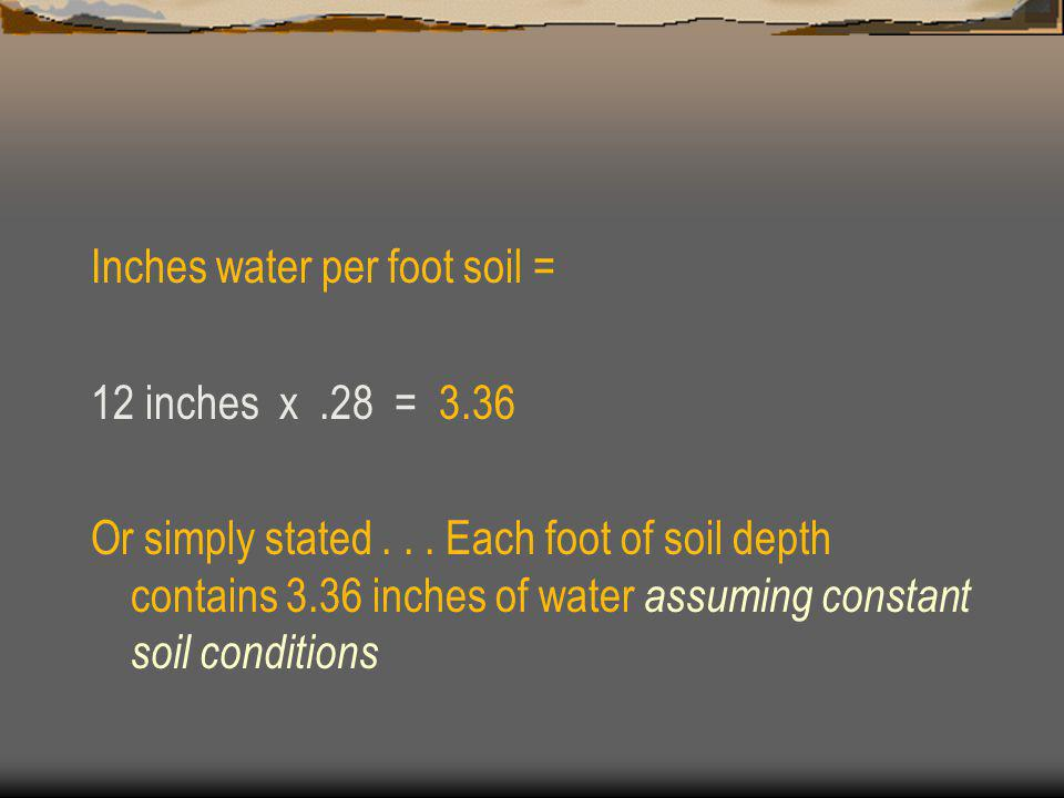 Inches water per foot soil =