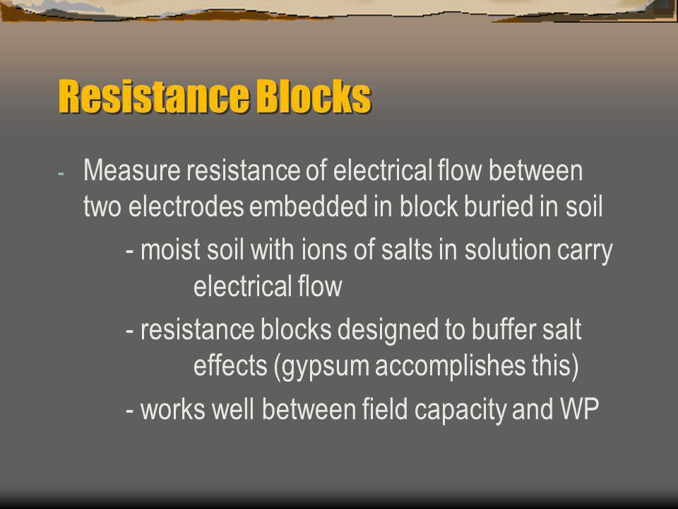 Resistance Blocks Measure resistance of electrical flow between two electrodes embedded in block buried in soil.