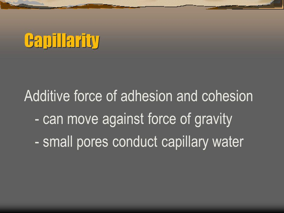 Capillarity Additive force of adhesion and cohesion