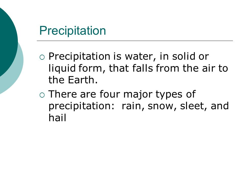 Precipitation Precipitation is water, in solid or liquid form, that falls from the air to the Earth.