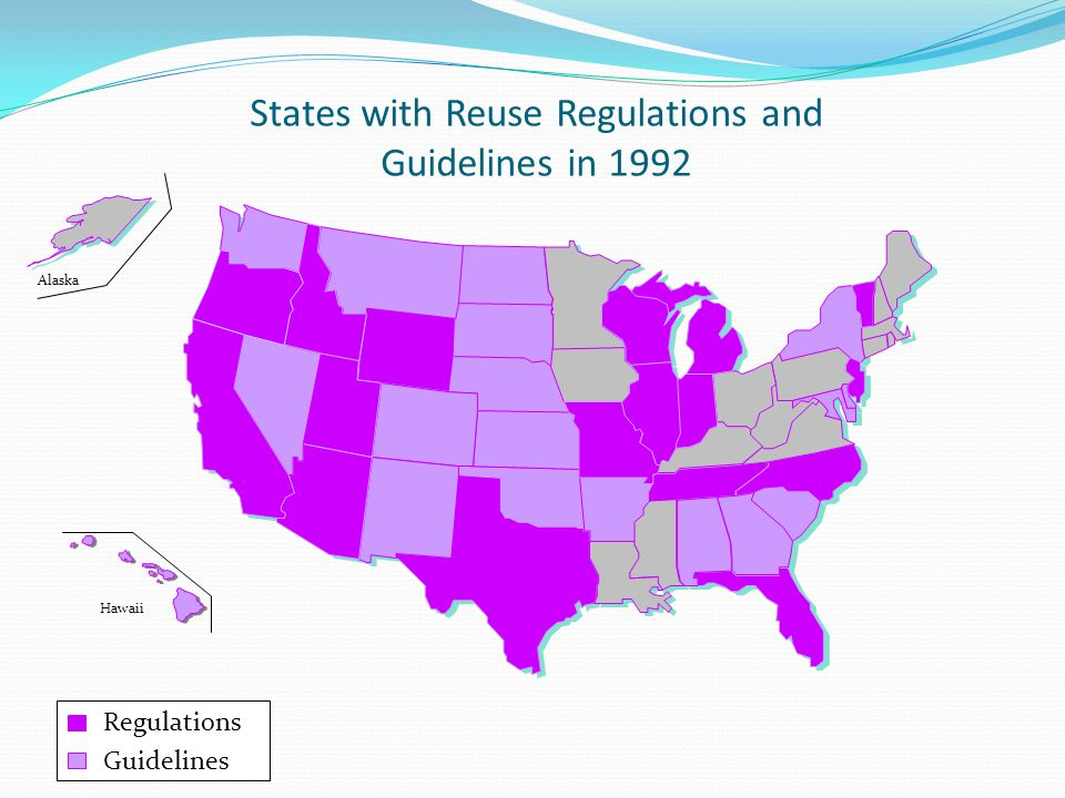 States with Reuse Regulations and Guidelines in 1992