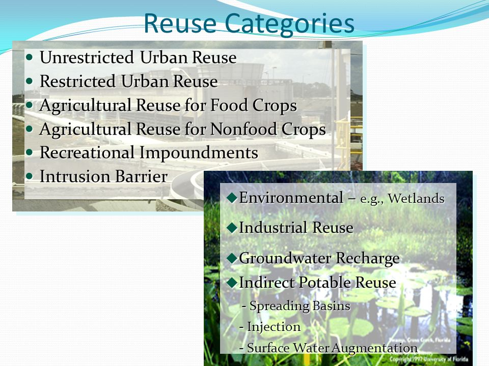 Reuse Categories Unrestricted Urban Reuse Restricted Urban Reuse
