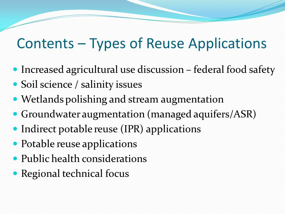 Contents – Types of Reuse Applications