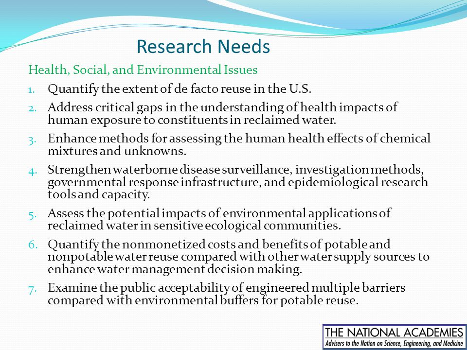 Research Needs Health, Social, and Environmental Issues