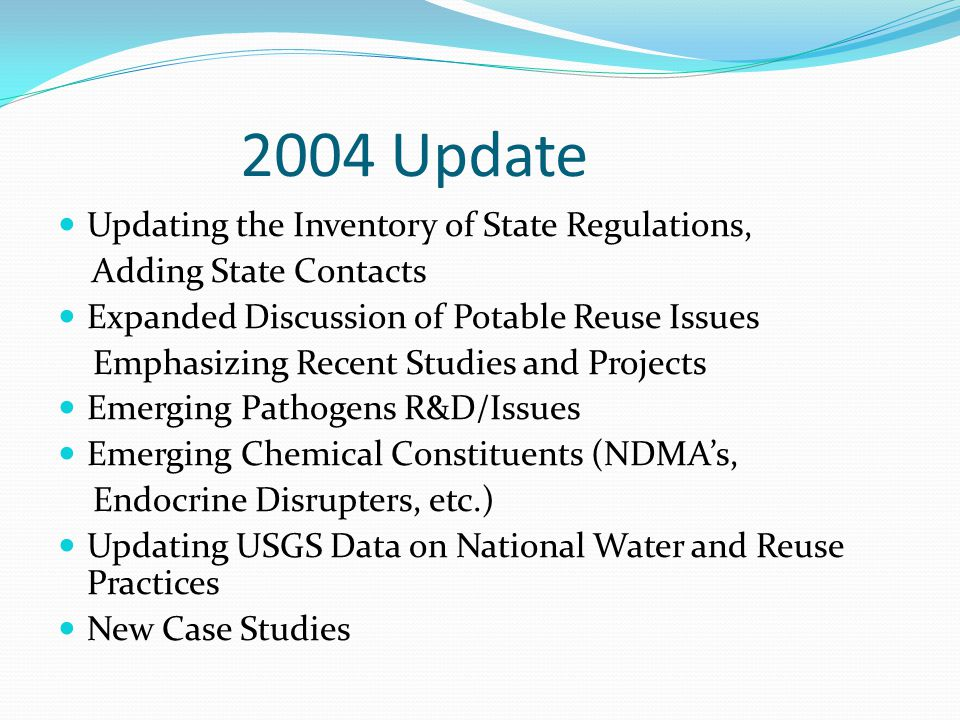 2004 Update Updating the Inventory of State Regulations,