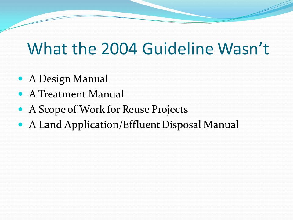 What the 2004 Guideline Wasn't