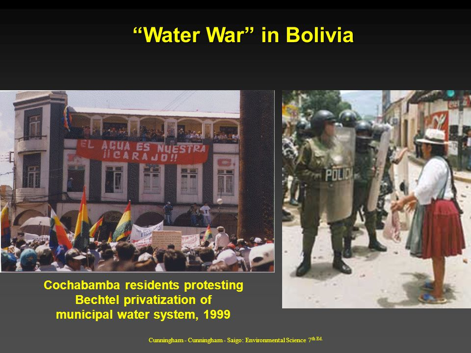 Water War in Bolivia Cochabamba residents protesting