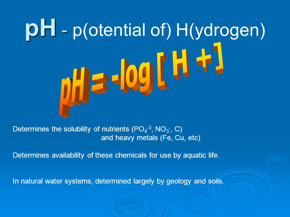 pH - p(otential of) H(ydrogen)