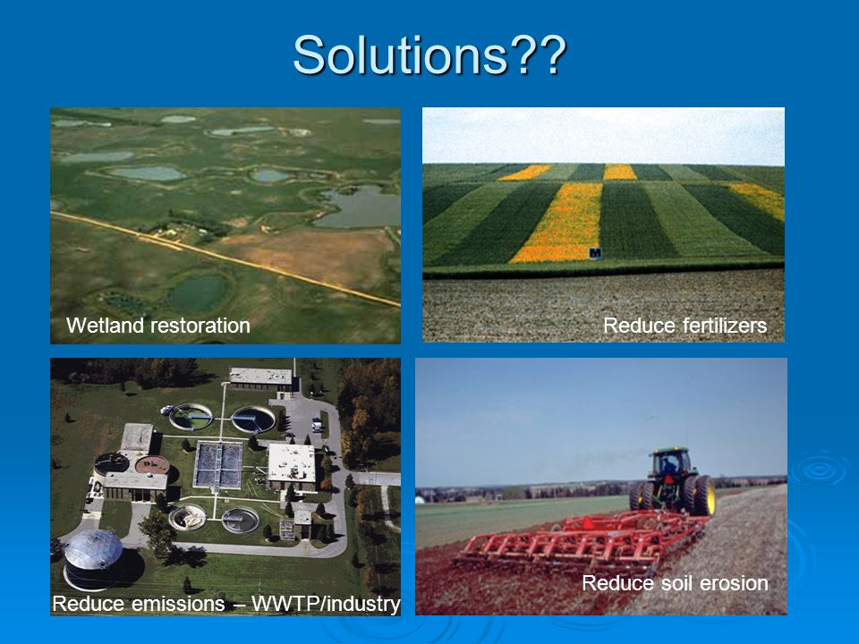 Solutions Wetland restoration Reduce fertilizers Reduce soil erosion