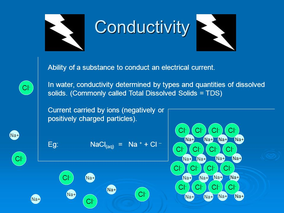 Conductivity Ability of a substance to conduct an electrical current.