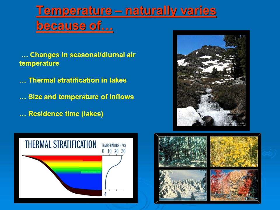 Temperature – naturally varies because of…