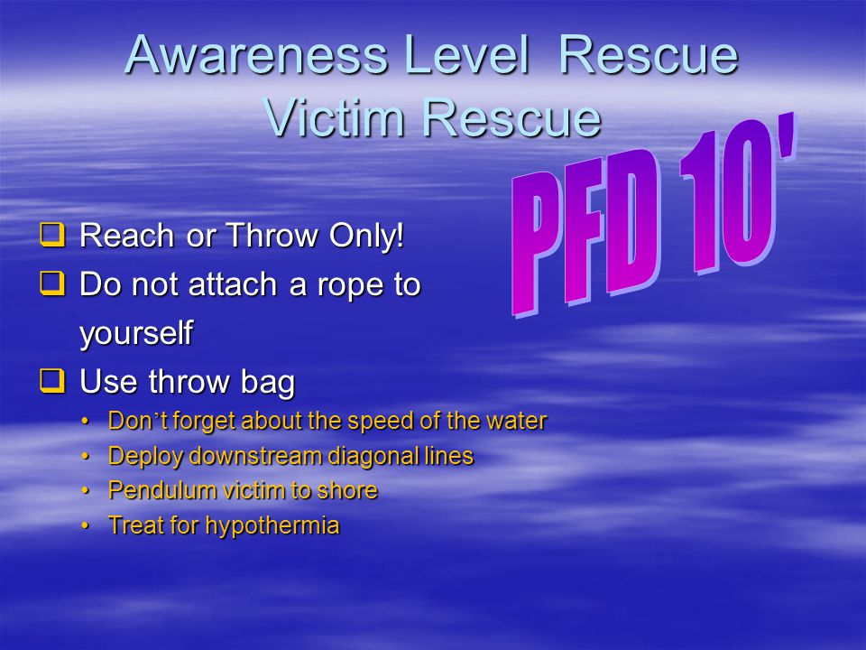 Awareness Level Rescue Victim Rescue
