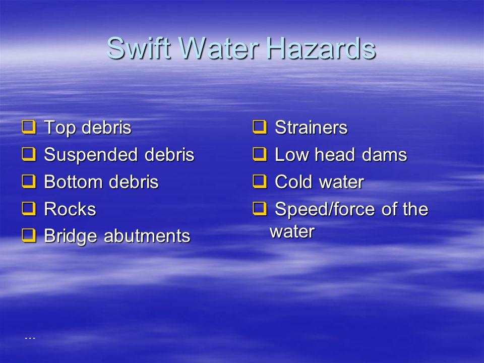 Swift Water Hazards Top debris Suspended debris Bottom debris Rocks
