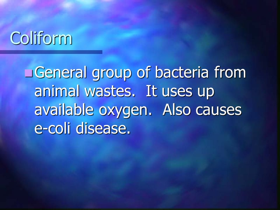 Coliform General group of bacteria from animal wastes.