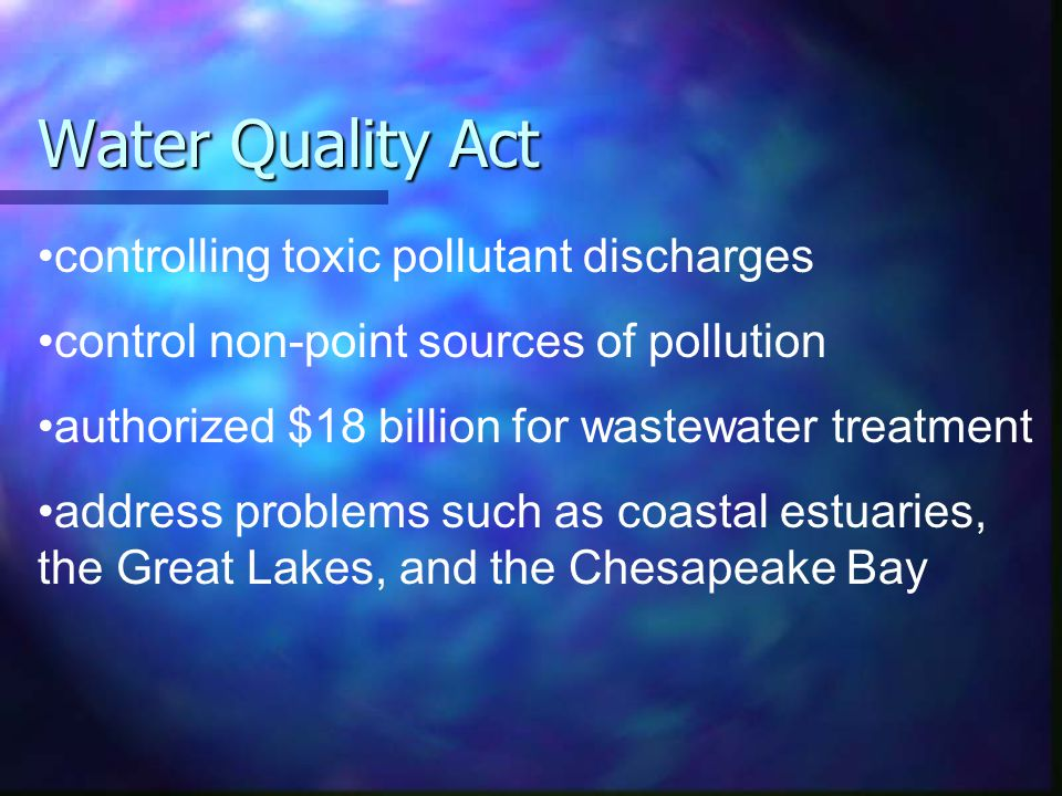 Water Quality Act controlling toxic pollutant discharges