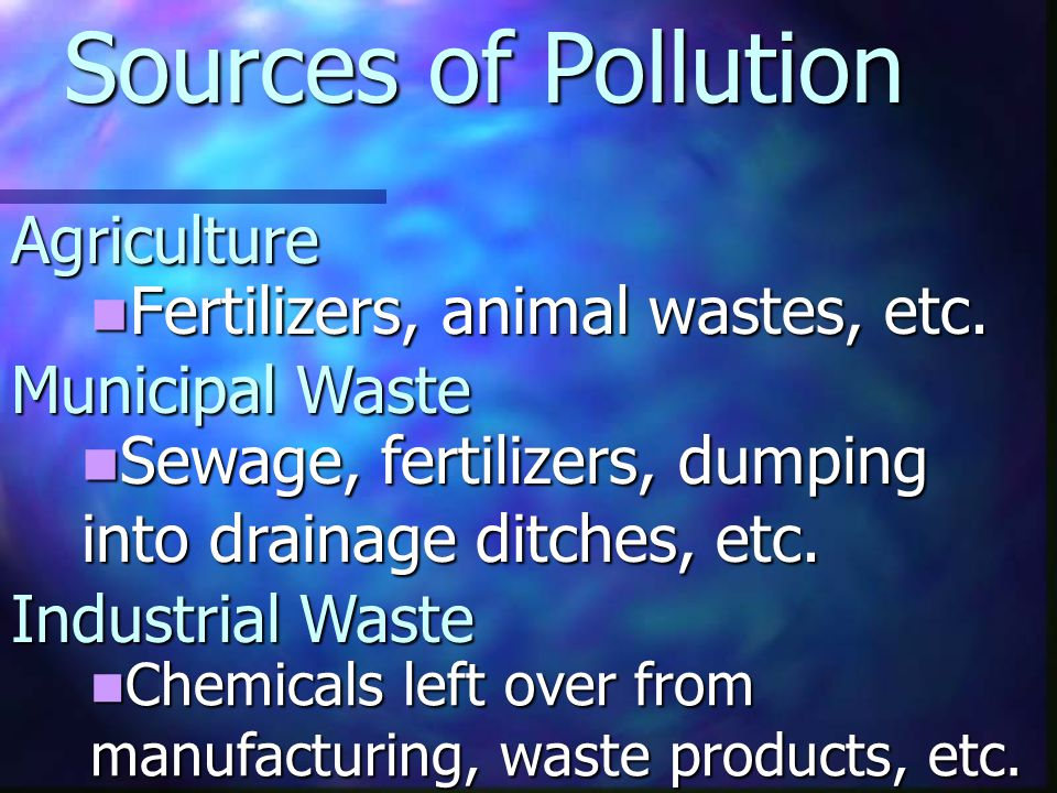 Sources of Pollution Agriculture Fertilizers, animal wastes, etc.