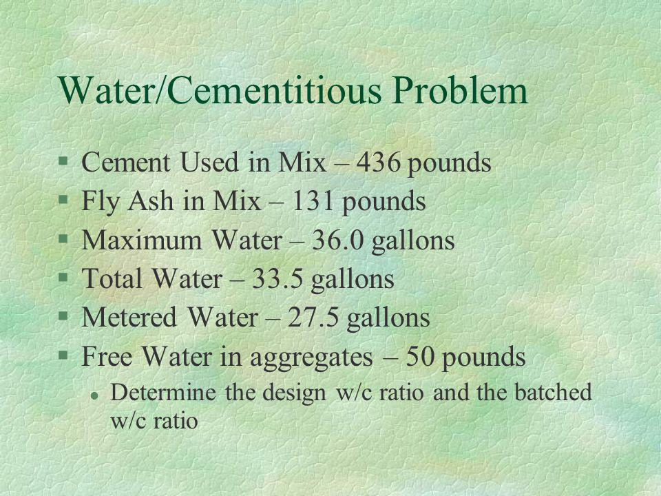 Water/Cementitious Problem