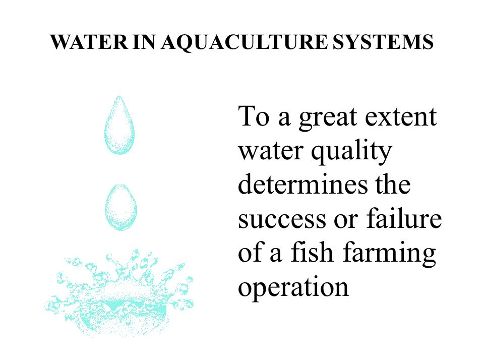 WATER IN AQUACULTURE SYSTEMS