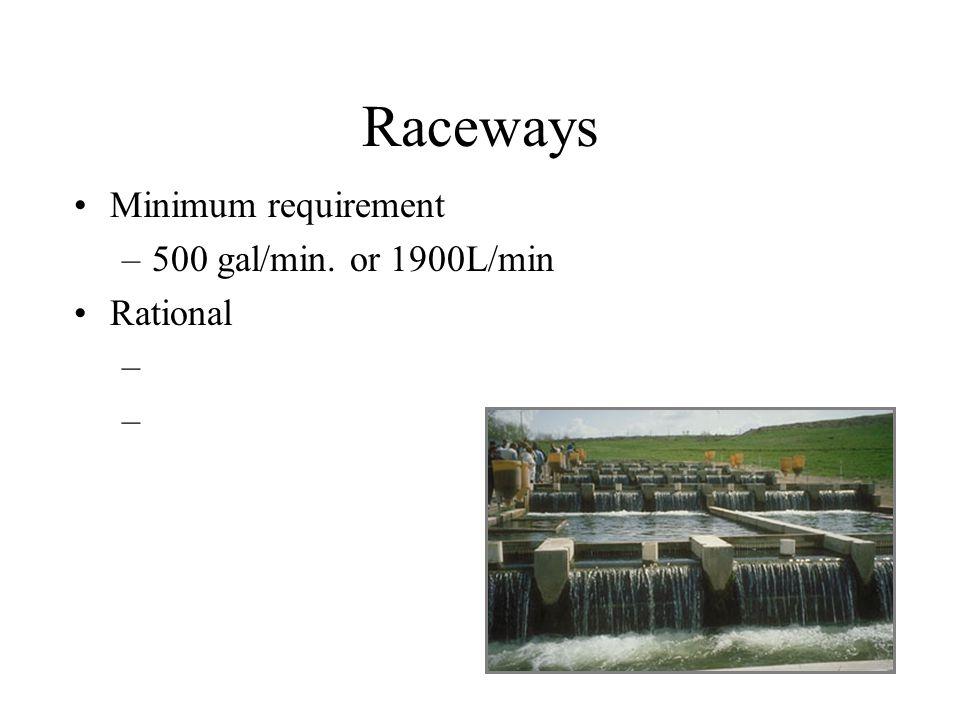 Raceways Minimum requirement 500 gal/min. or 1900L/min Rational