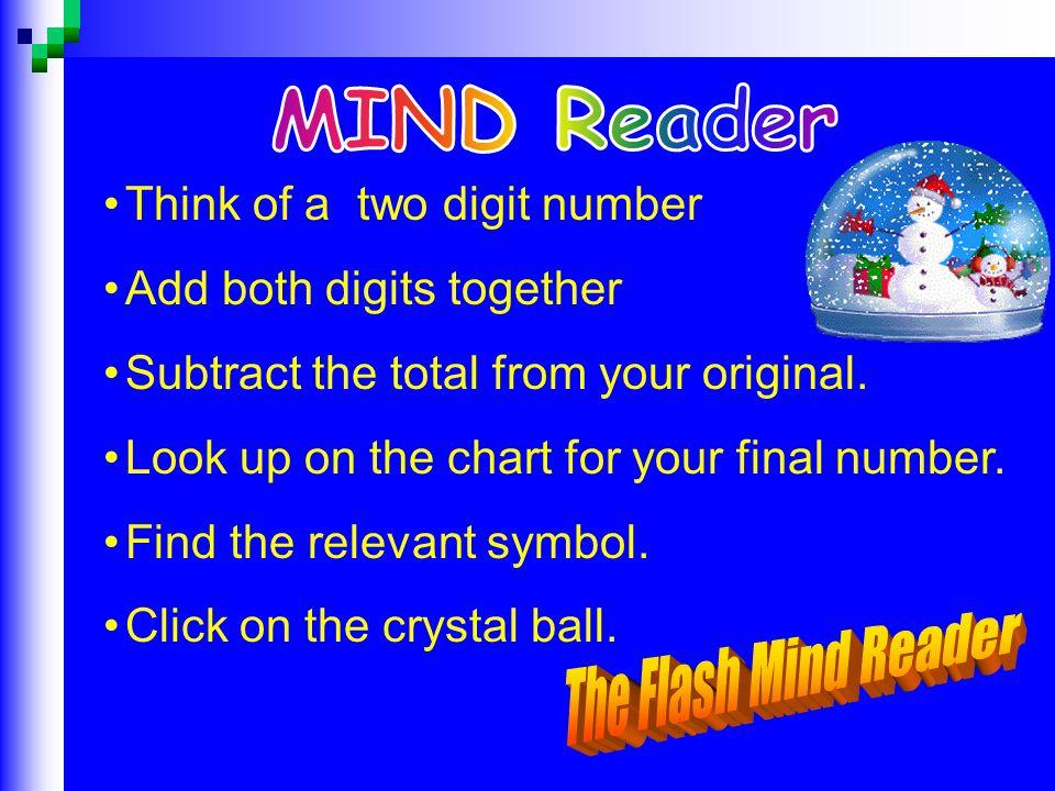 MIND Reader The Flash Mind Reader Think of a two digit number