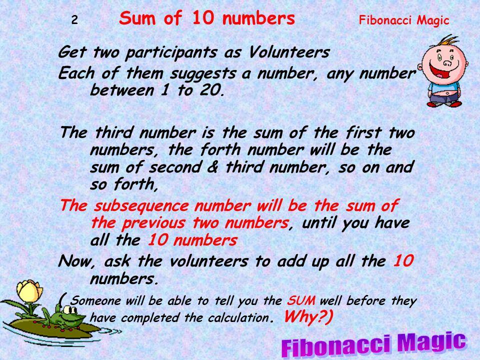 Fibonacci Magic Get two participants as Volunteers