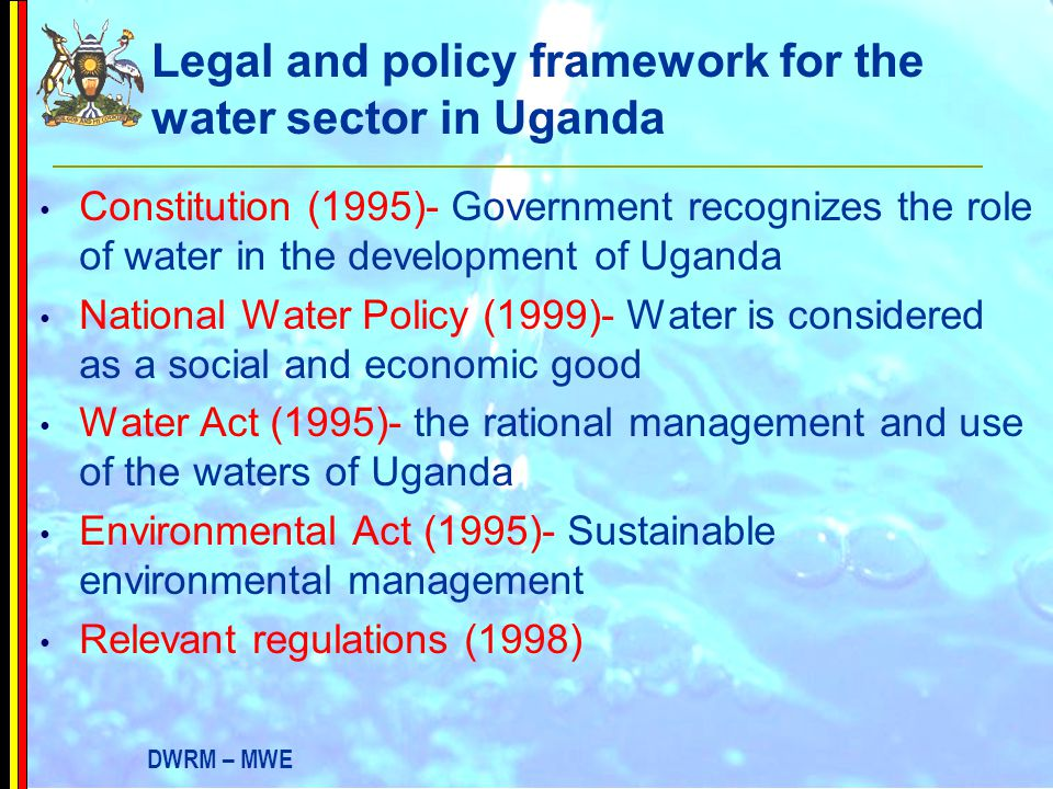 Legal and policy framework for the water sector in Uganda