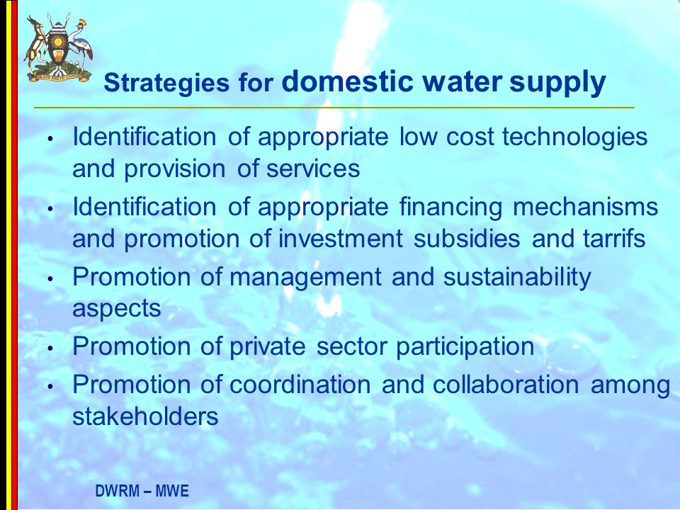 Strategies for domestic water supply