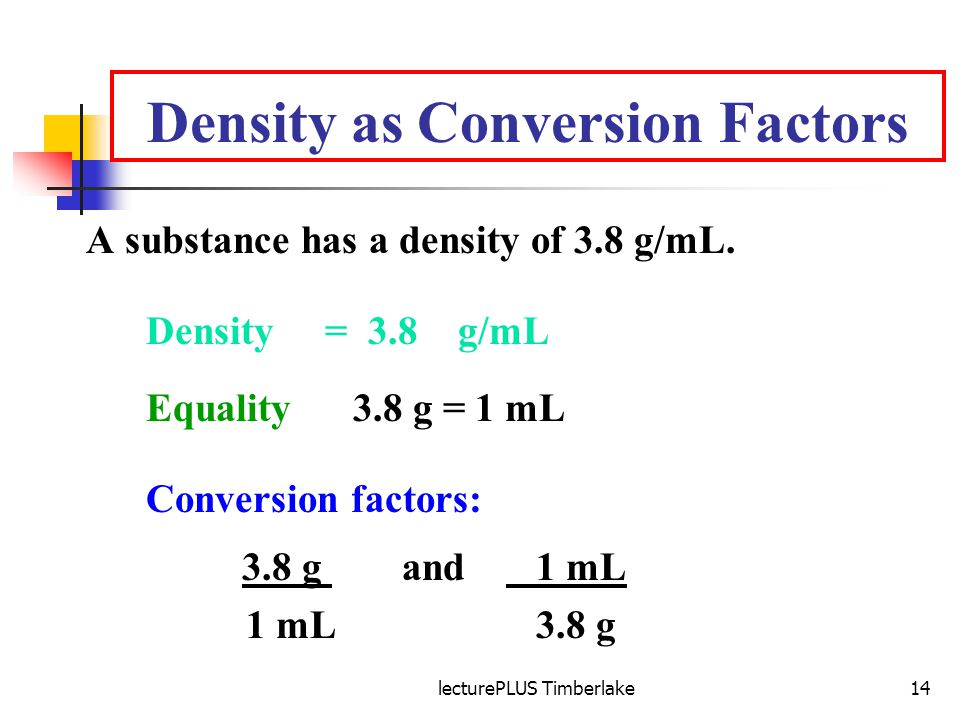 Density as Conversion Factors