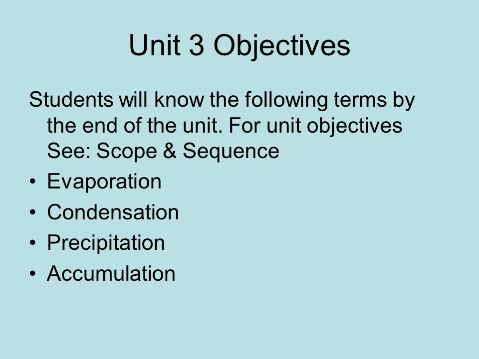 Unit 3 Objectives Students will know the following terms by the end of the unit. For unit objectives See: Scope & Sequence.