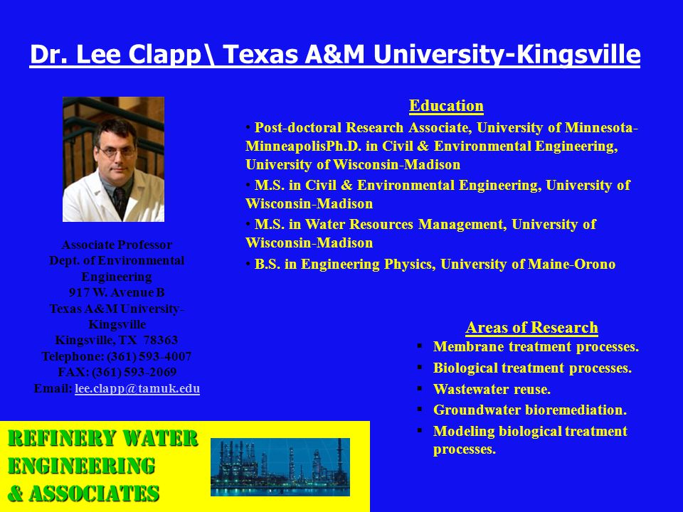 Dr. Lee Clapp\ Texas A&M University-Kingsville