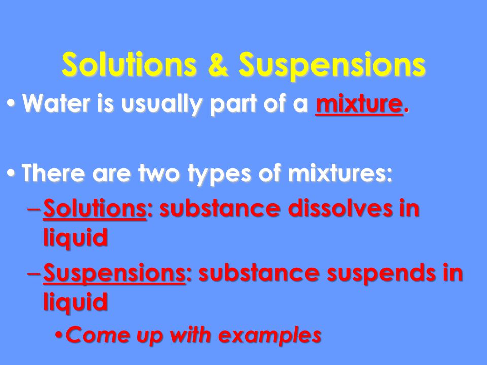 Solutions & Suspensions