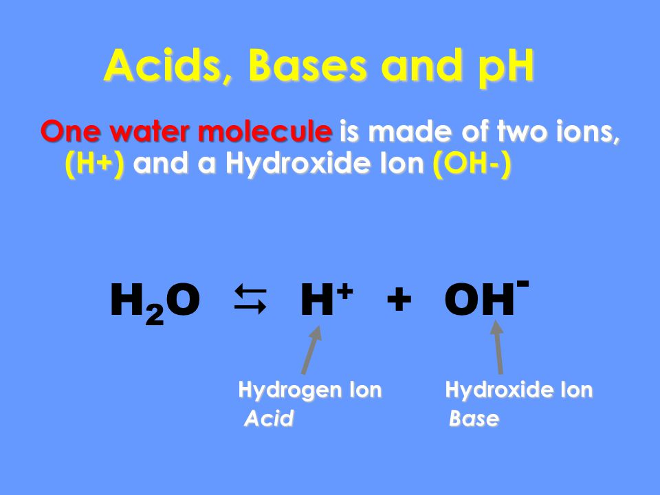 Acids, Bases and pH H2O  H+ + OH-