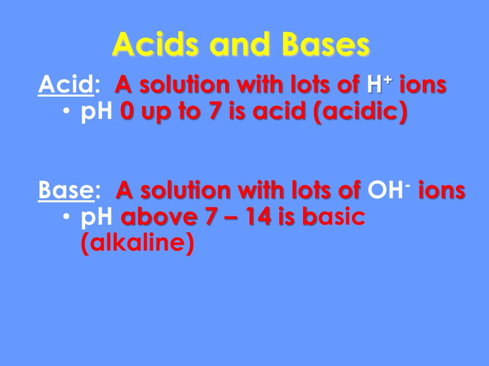 Acids and Bases Acid: A solution with lots of H+ ions