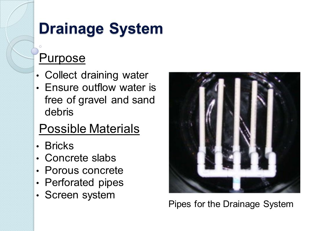 Drainage System Purpose Possible Materials Collect draining water