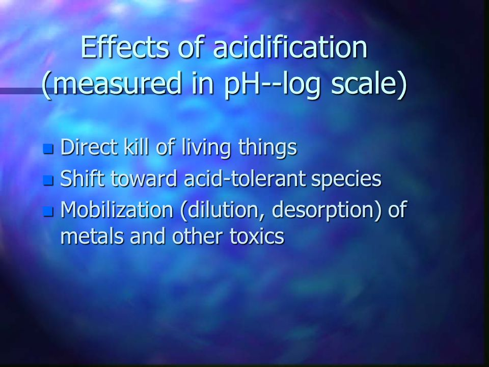Effects of acidification (measured in pH--log scale)