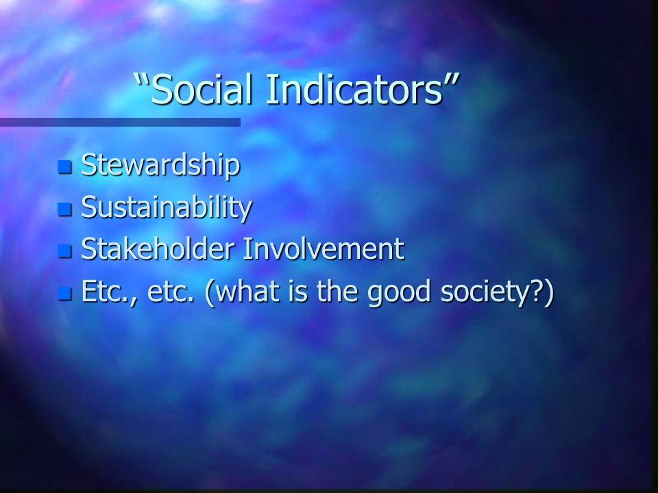 Social Indicators Stewardship Sustainability Stakeholder Involvement