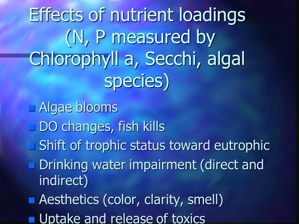 Effects of nutrient loadings (N, P measured by Chlorophyll a, Secchi, algal species)