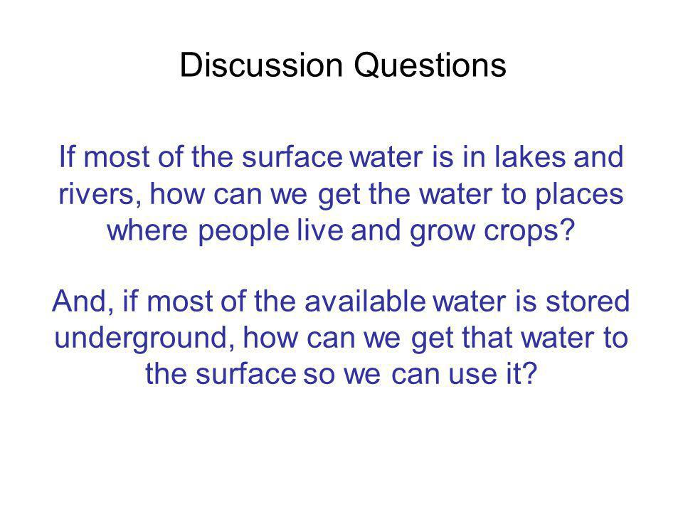 Discussion Questions If most of the surface water is in lakes and rivers, how can we get the water to places where people live and grow crops