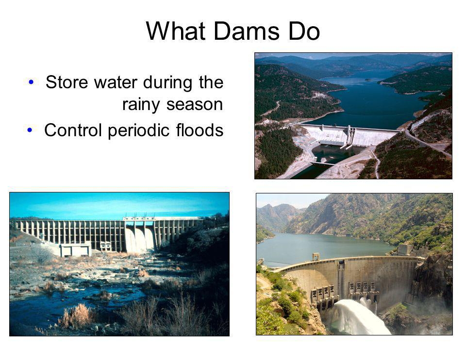 What Dams Do Store water during the rainy season