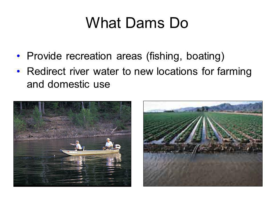 What Dams Do Provide recreation areas (fishing, boating)