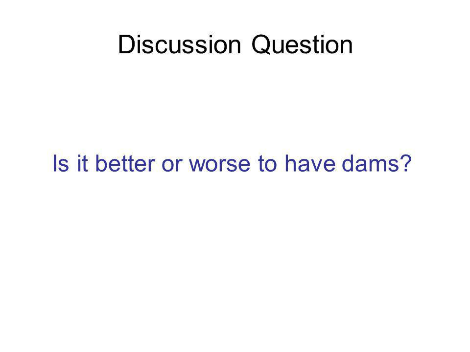 Discussion Question Is it better or worse to have dams