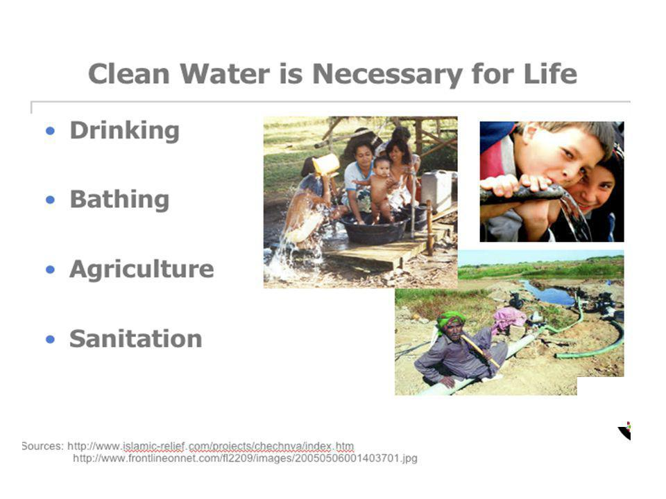 TEACHER GUIDELINES: Clean water is needed for these four major areas