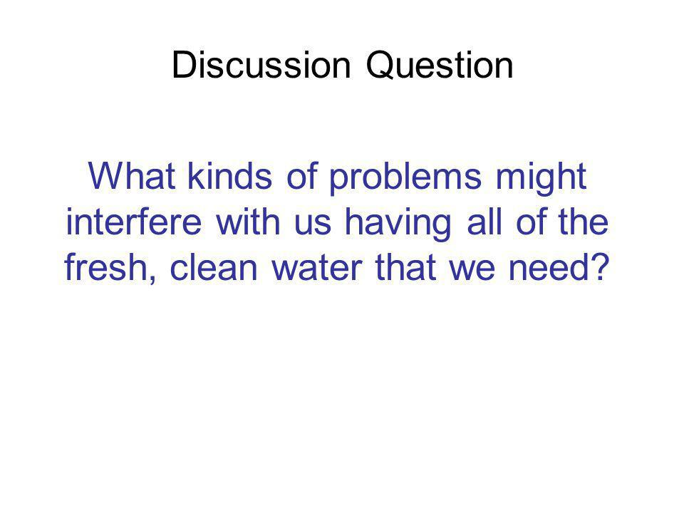 Discussion Question What kinds of problems might interfere with us having all of the fresh, clean water that we need