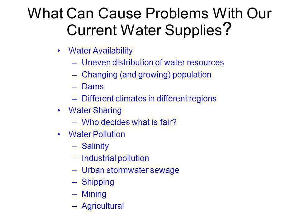What Can Cause Problems With Our Current Water Supplies