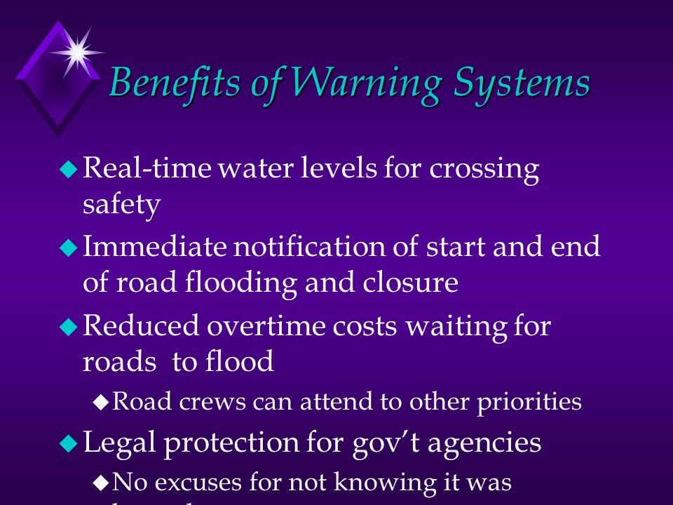 Benefits of Warning Systems